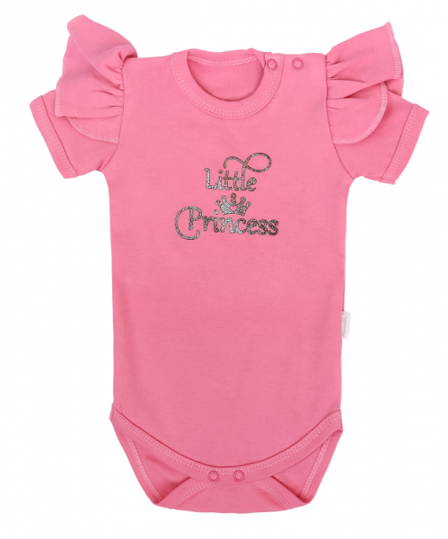 Mamatti Detské body Kr. rukáv, Princezna Bodka, ružové s nápisem, vel. 92-#Velikost koj. oblečení;92 (18-24m)