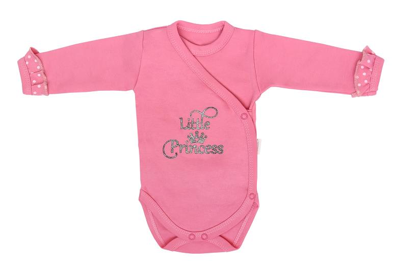 Mamatti Dojčenské body dl. rukáv, zapínanie bokom, Princezna Bodka - ružové s nápisom-#Velikost koj. oblečení;50 (0-1m)