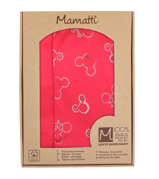 Mamatti Detská obojst. bavl. deka, 80 x 90 cm, v dar. krabičke, Myška - tm. ružová