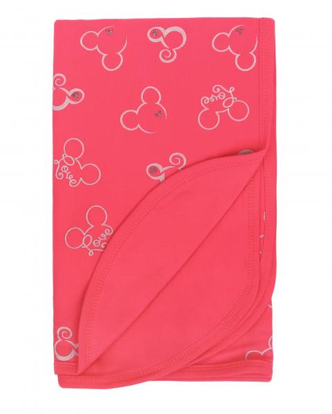 Mamatti Detská oboust. bavl. deka, 80 x 90 cm, v dar. krabičke, Myška - tm. růžová
