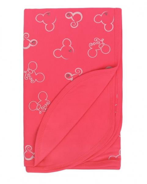 Mamatti Detská obojstranná bavlnená deka, 80 x 90 cm, Myška - tm. růžová