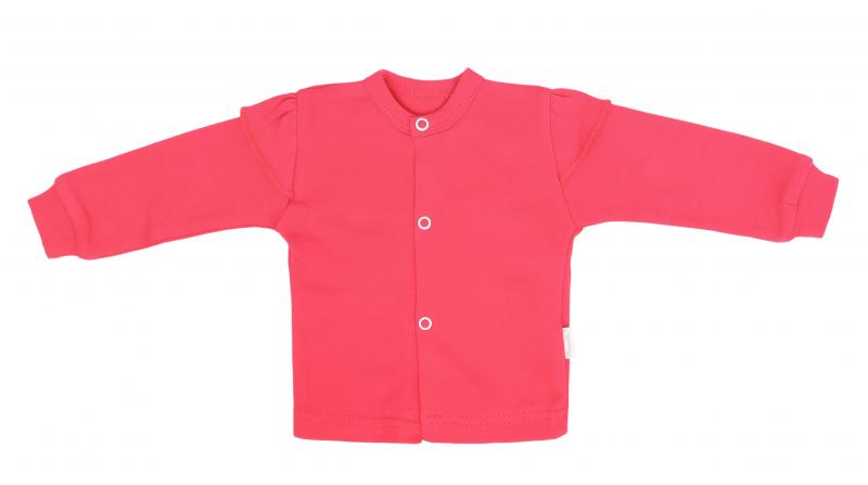 Mamatti Novozenecká bavlnená košieľka, kabátik, Myška - tm. růžová-#Velikost koj. oblečení;50 (0-1m)