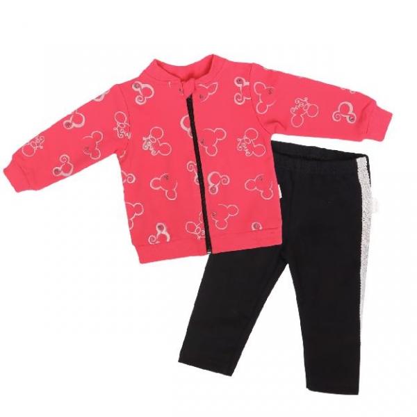 Mamatti Detská tepláková súprava zapínanie na zip, Myška - tm. růžová, čierna, veľ. 98-#Velikost koj. oblečení;98 (24-36m)