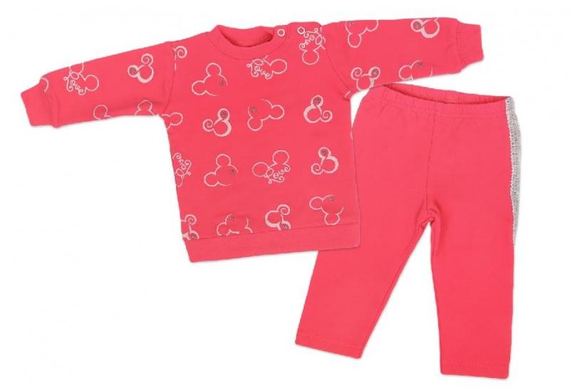 Mamatti Detská tepláková súprava, Myška - tm. růžová, veľ. 98-#Velikost koj. oblečení;98 (24-36m)