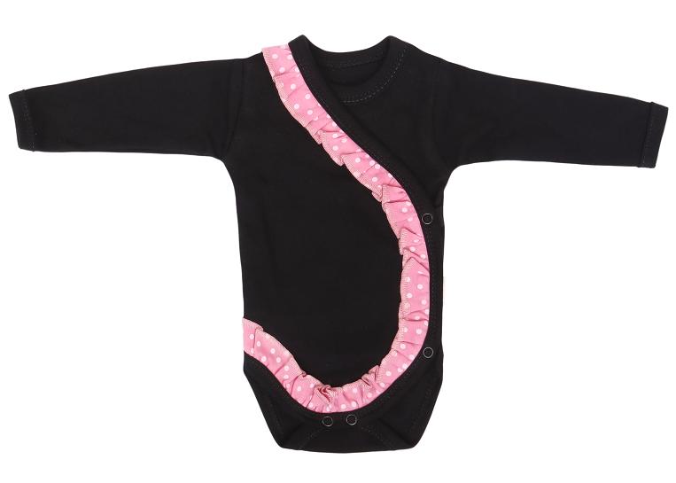 Mamatti Dojčenské body dl. rukáv, zapínanie bokom, Princezna Bodka - čierne/ružové, vel.68-#Velikost koj. oblečení;68 (4-6m)