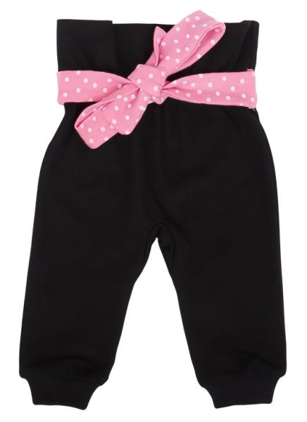 Mamatti Dojčenské tepláčky s ozdobným pásikom, Princezna Bodka - čierne/ružové, veľ. 80