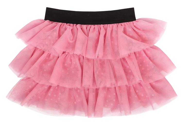 Mamatti Dojčenská tylová sukňa, Princezna Bodka - ružová s čierným pasom-#Velikost koj. oblečení;74/80