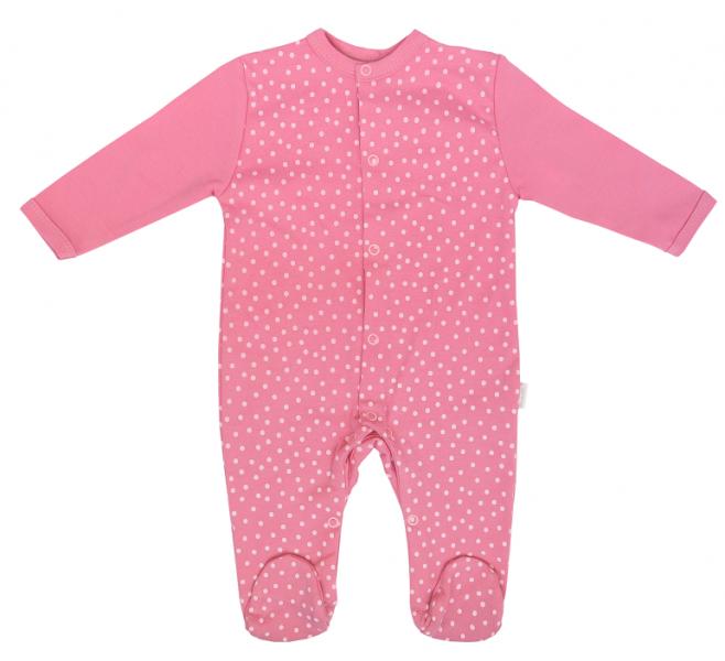 Mamatti Dojčenský bavlnený overal Princezna Bodka- růžový, veľ. 56-#Velikost koj. oblečení;56 (1-2m)
