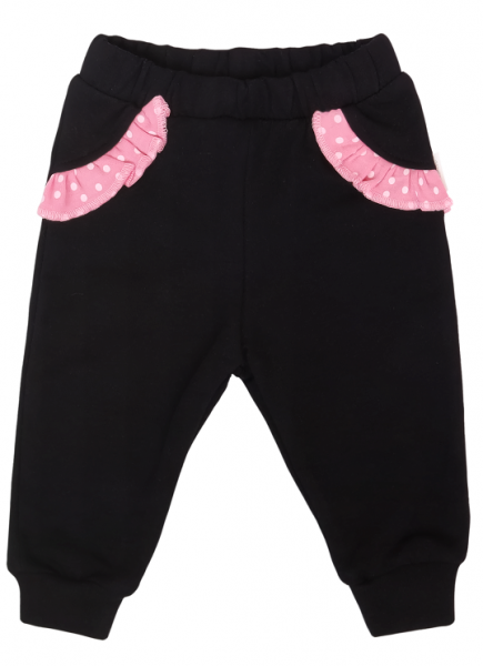 Mamatti Dojčenské tepláčky s vreckami, Princezna Bodka - čierne