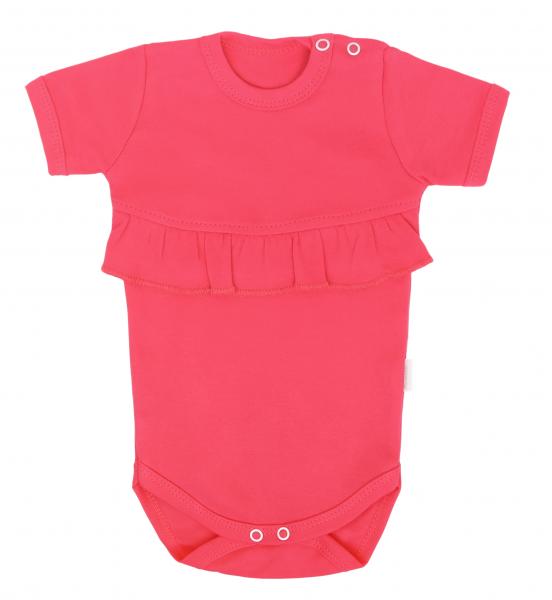 Mamatti Dojčenské body Kr. rukáv s volánikom, Myška - tm. růžová, veľ. 68-#Velikost koj. oblečení;68 (4-6m)