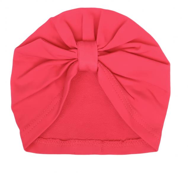 Mamatti Bavlnená detská čiapka, turban, Myška - tm. růžová