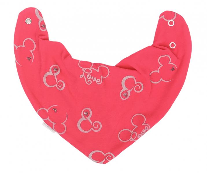 Mamatti Dětský šátek na krk Myška - tm. růžová