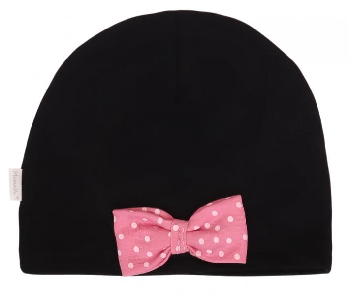 Mamatti Bavlnená čiapočka Princezna Bodka - čierna s ružovou mašľou, veľ. 2-3 rok-#Velikost koj. oblečení;0-1rok