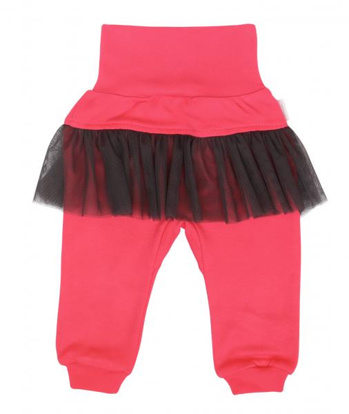Mamatti Dojčenské tepláčky s volánikom, Myška - tm. růžová, čierna, veľ. 68-#Velikost koj. oblečení;68 (3-6m)