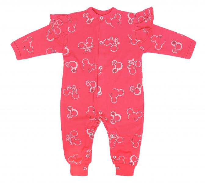 Dojčenský bavlnený overal bez šlapiek Myška - červený, veľ 68