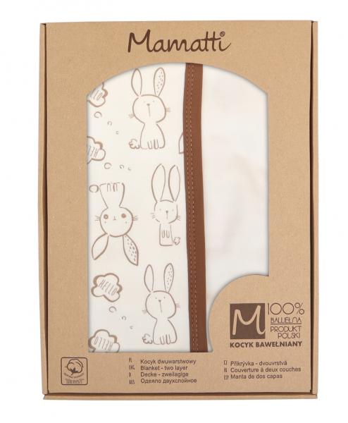Mamatti Detská obojst. bavl. deka, 80 x 90 cm, v dar. krabičke Králiček - krémová, hnedá