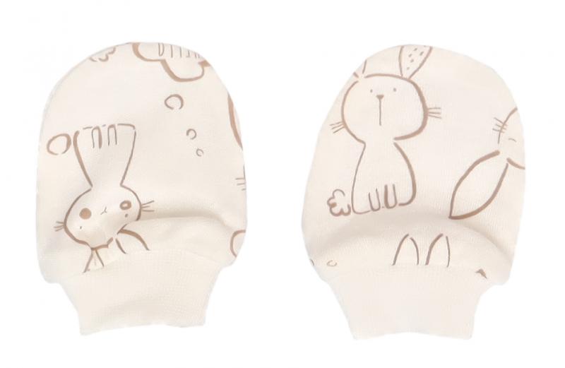 Mamatti Dojčenské rukavičky Králiček, krémová s potlačou
