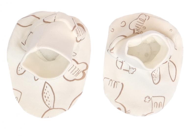 Mamatti Dojčenské topánočky, ponožtičky Králiček - krémové s potlačou