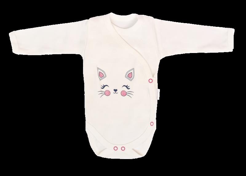 Mamatti Dojčenské body dl. rukáv, zapínanie bokom, Gepardík, biele, veľ. 62-#Velikost koj. oblečení;62 (2-3m)