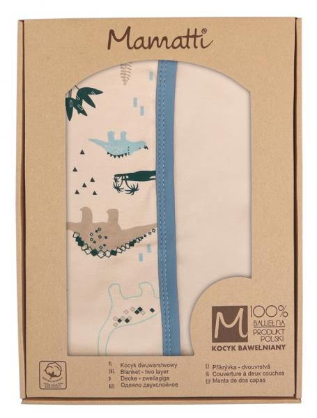 Mamatti Detská oboust. bavl. deka, 80 x 90 cm, v dar. krabičke Dinosaurus - krémová, modrá