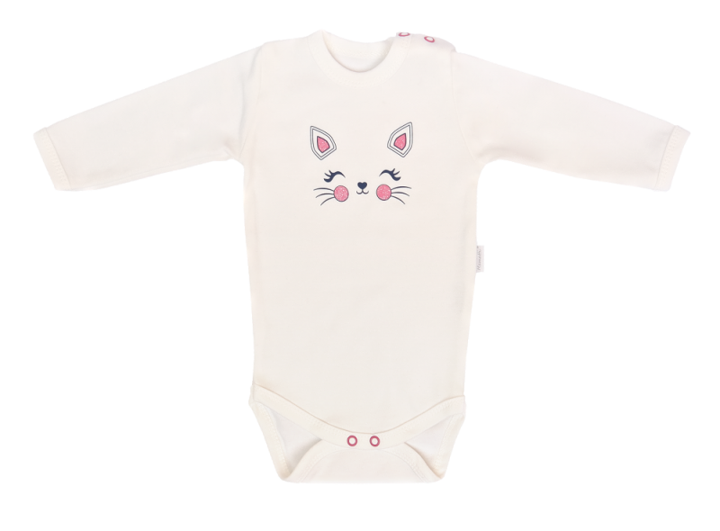 Mamatti Dojčenské body dl. rukáv, Gepardík, biele, veľ. 74-#Velikost koj. oblečení;74 (6-9m)