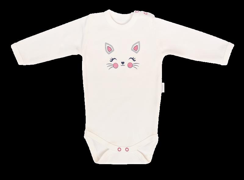Mamatti Dojčenské body dl. rukáv, Gepardík, biele, veľ. 80-#Velikost koj. oblečení;80 (9-12m)