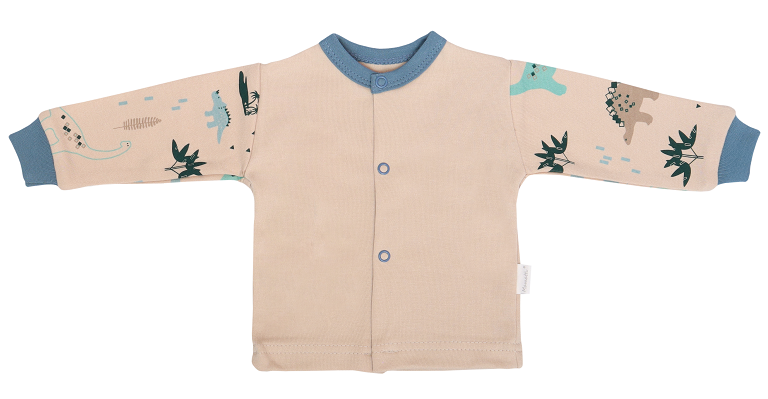 Mamatti Novozenecká bavlnená košieľka, kabátik, Dinosaurus - krémová s potlačou-#Velikost koj. oblečení;50 (0-1m)