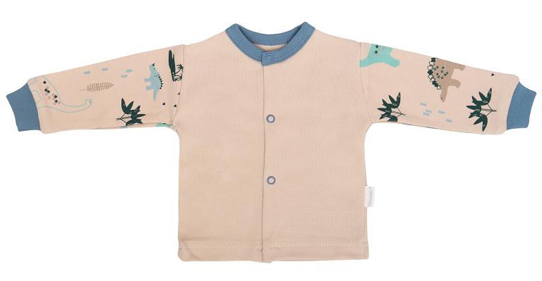 Mamatti Novozenecká bavlnená košieľka, kabátik, Dinosaurus - krémová s potlačou, veľ. 68-#Velikost koj. oblečení;68 (4-6m)