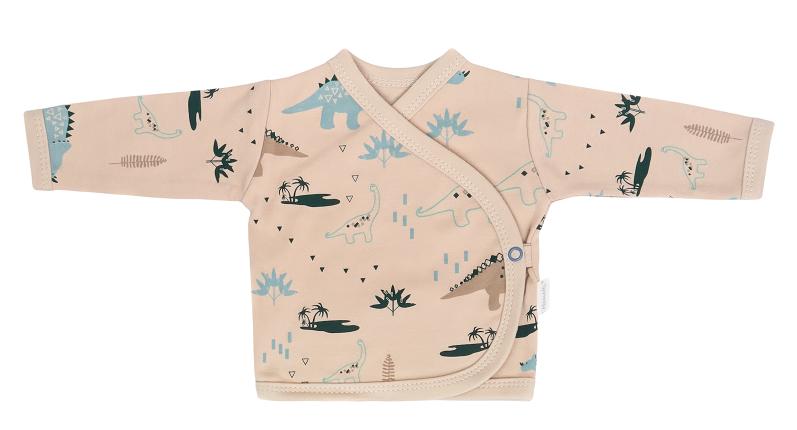 Mamatti Dojčenská bavlnená košieľka zap. bokom, Dinosaurus, krémová s potľačou, vel. 62-#Velikost koj. oblečení;62 (2-3m)