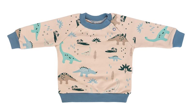 Detská tepláková súprava zapínanie na boku Dinosaurus - krémová/modrá, veľ 68