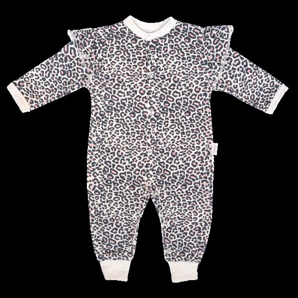 Mamatti Dojčenský bavlnený overal bez šlapiek Gepardík, biely vzorovaný-#Velikost koj. oblečení;68 (4-6m)
