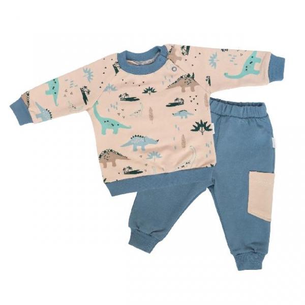 Mamatti Detská tepláková súprava zapínanie na boku Dinosaurus - krémová/modrá, vel. 80-#Velikost koj. oblečení;80 (9-12m)