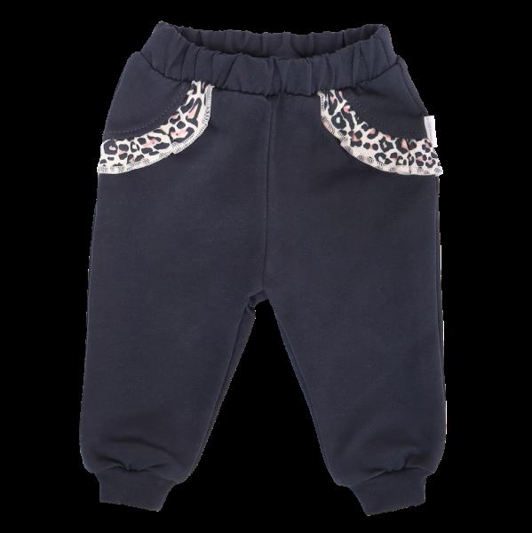 Mamatti Detské tepláčky s vreckami, Gepardík, granátové, veľ. 98