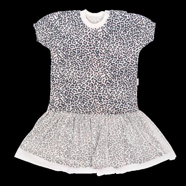 Mamatti Detské šaty s tylom, kr. rukáv, Gepardík, biele vzorované, veľ. 86-#Velikost koj. oblečení;86 (12-18m)