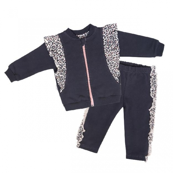 Mamatti Detská tepláková súprava zapínanie na zip Gepardík, granátová vzorovaná, veľ. 92-#Velikost koj. oblečení;92 (18-24m)