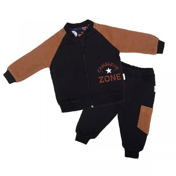 Mamatti Detská tepláková súprava zapínanie na zip Králiček - hnedá, čierna-#Velikost koj. oblečení;68 (4-6m)