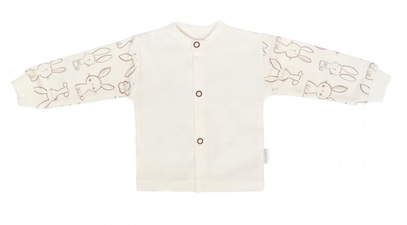 Mamatti Novozenecká bavlnená košieľka, kabátik, Zajačik - krémová s potlačou-#Velikost koj. oblečení;50 (0-1m)