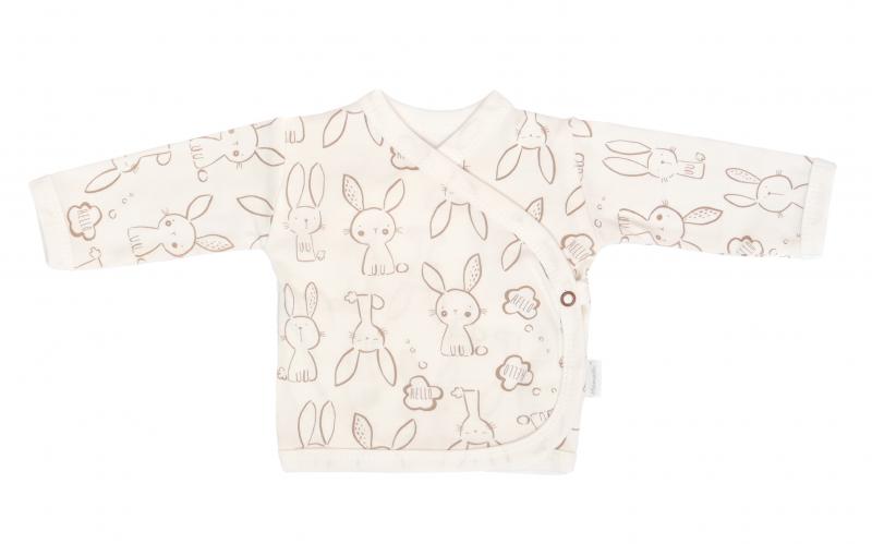 Mamatti Novorodenecká bavl. košieľka zapínanie bokom, Zajačik - krémová s potlačou,veľ. 62-#Velikost koj. oblečení;62 (2-3m)