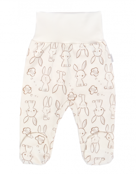 Mamatti Dojčenské polodupačky Zajačik - krémové s potlačou-#Velikost koj. oblečení;50 (0-1m)