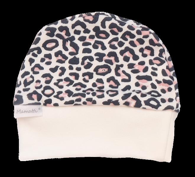 Mamatti Dojčenská čiapočka Gepardík, biela vzorovaná, veľ. 62