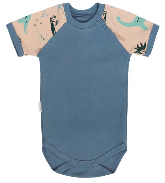 Mamatti Dojčenské body kr. rukáv, Dinosaurus, modré, veľ. 74-#Velikost koj. oblečení;74 (6-9m)