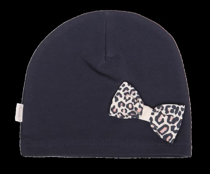 Mamatti Bavlnená čiapočka s mašličkou Gepardík, granátové-#Velikost koj. oblečení;0-1rok