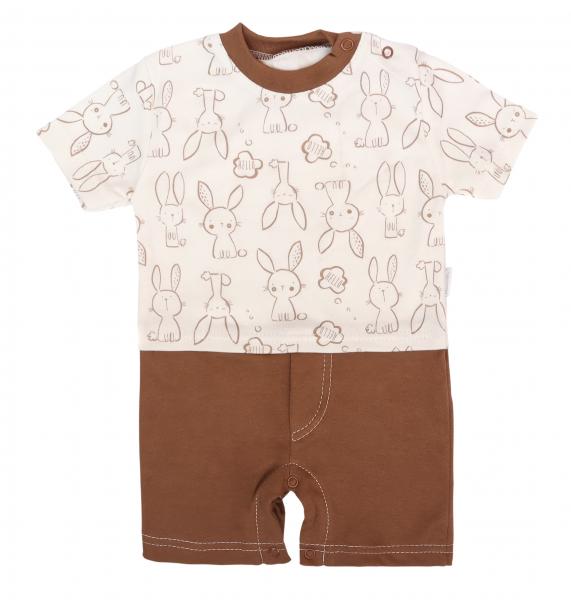 Mamatti Body s nohavičkami Králíček - krémová, hnedá, veľ. 80-#Velikost koj. oblečení;80 (9-12m)