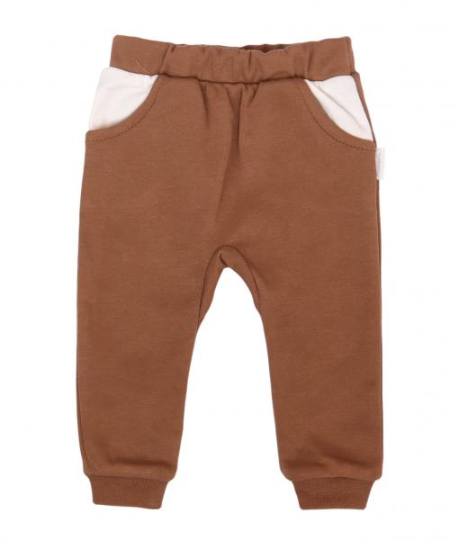 Mamatti Dojčenské tepláčky s vreckami, Zajačik - hnedý-#Velikost koj. oblečení;68 (3-6m)