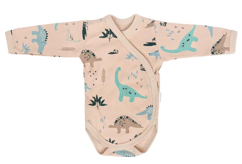 Mamatti Dojčenské body dl. rukáv, zap. bokom, Dinosaurus - krémové s potlačou, veľ. 56-#Velikost koj. oblečení;56 (1-2m)