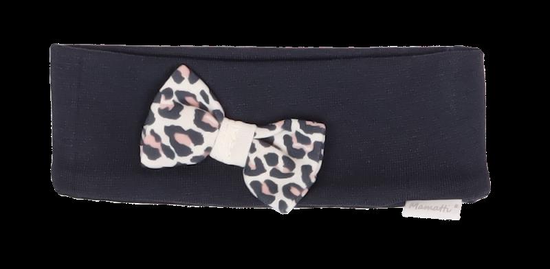 Mamatti Bavlnená detská čelenka s mašličkou Gepardík, granátová