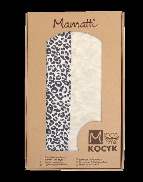 Mamatti Detská bavlnená deka s minky, Gepardík, 80 x 90cm, biela vzorovaná