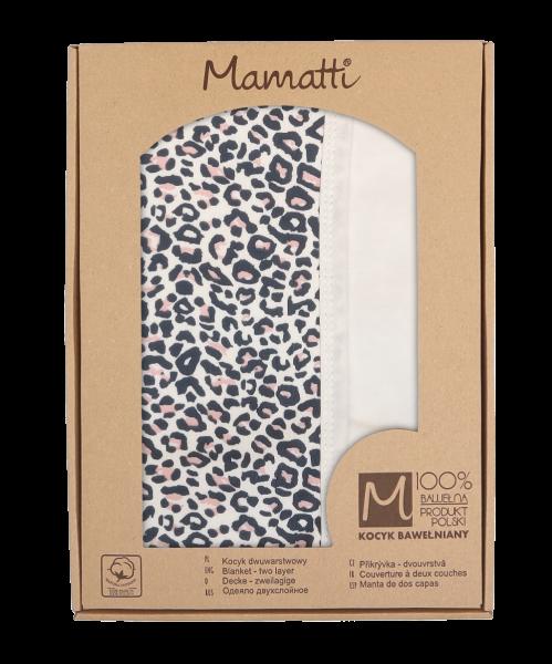 Mamatti Detská obojstranná bavlnená deka, 80 x 90 cm, Gepardík, biela vzorovaná