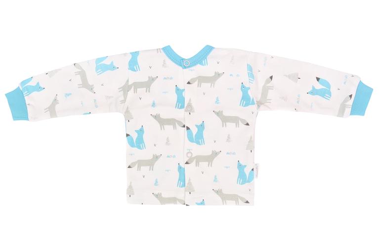 Mamatti Novozenecká bavlnená košieľka, kabátik, Liška - biela s potlačou-#Velikost koj. oblečení;50 (0-1m)