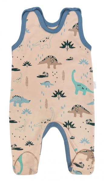 Mamatti Dojčenské dupačky Dinosaurus, krémové s potlačou, veľ. 56-#Velikost koj. oblečení;56 (1-2m)